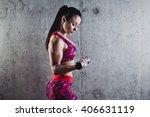 beautiful muscular woman doing... | Shutterstock . vector #406631119