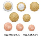 euro coins set on a white... | Shutterstock .eps vector #406635634