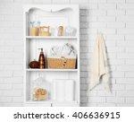 bathroom set with towels ... | Shutterstock . vector #406636915