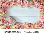 Frame Of Rose Flowers On White...