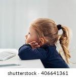 Portrait Of Cute Smart Child...