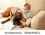 Stock photo little baby boy with boxer dog on a couch at home 406644811