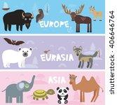cute animals set bison panda... | Shutterstock .eps vector #406646764