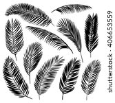 set of palm leaves. vector... | Shutterstock .eps vector #406653559