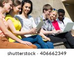 group of diverse students... | Shutterstock . vector #406662349