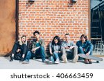 group of young beautiful... | Shutterstock . vector #406663459