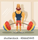 bodybuilder doing exercise.... | Shutterstock .eps vector #406665445