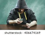 hacker trying to steal mobile... | Shutterstock . vector #406674169