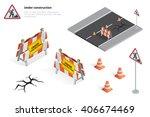 road repair  under construction ... | Shutterstock .eps vector #406674469