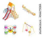 isometric kids playground or... | Shutterstock .eps vector #406675084