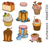 colorful collection of sweet... | Shutterstock .eps vector #406687231