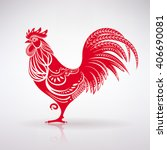 Stylized Red Rooster On A Ligh...