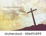 Small photo of 1 Corinthians Vintage Bible Verse Background on one cross on a hill