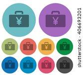 color yen bag flat icon set on...