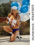 sexy blonde girl on... | Shutterstock . vector #406693855