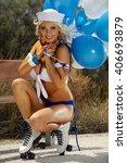 sexy blonde girl on... | Shutterstock . vector #406693879
