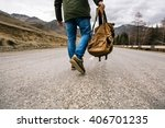 man with backpack in hand... | Shutterstock . vector #406701235