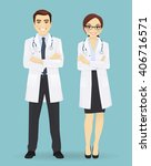 male and female doctors... | Shutterstock .eps vector #406716571