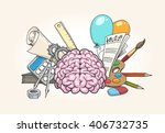 left and right brain concept.... | Shutterstock .eps vector #406732735