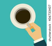 business hand holding  coffee... | Shutterstock .eps vector #406733407