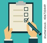 businessman holding checklist... | Shutterstock .eps vector #406733449