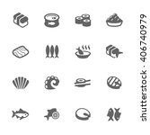 simple set of sea food related... | Shutterstock .eps vector #406740979