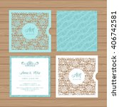wedding invitation or greeting... | Shutterstock .eps vector #406742581