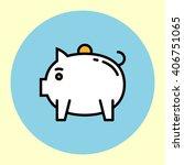 thin line icon. piggy bank.... | Shutterstock .eps vector #406751065