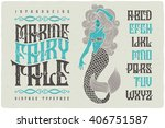 marine fairytale font with... | Shutterstock .eps vector #406751587
