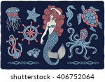 marine illustrations set.... | Shutterstock .eps vector #406752064