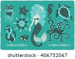 marine illustrations set.... | Shutterstock .eps vector #406752067