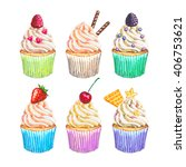 watercolor cupcakes collection. ... | Shutterstock . vector #406753621
