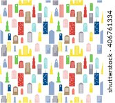 colorful buildings pattern | Shutterstock .eps vector #406761334
