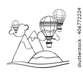 coloring book. hot air balloons.... | Shutterstock .eps vector #406772224