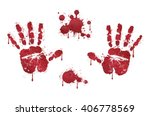 Bloody Red Horror Handprints...