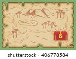 ancient old pirate treasure map ... | Shutterstock .eps vector #406778584