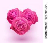 vector pink roses in shape of... | Shutterstock .eps vector #406784854