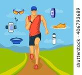 running man outdoor vector... | Shutterstock .eps vector #406793689