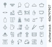 line cooking utensils and... | Shutterstock .eps vector #406797907
