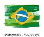 brazilian flag painted with... | Shutterstock .eps vector #406799191
