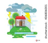 storm and rain  house damaged... | Shutterstock .eps vector #406806001