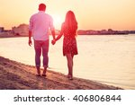rear view of happy couple... | Shutterstock . vector #406806844
