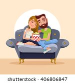 couple at home sitting on sofa. ... | Shutterstock .eps vector #406806847