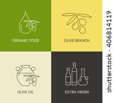 organic olive thin line logo... | Shutterstock .eps vector #406814119