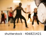 dance class with instructor and ... | Shutterstock . vector #406821421