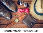 acceseries for men on the... | Shutterstock . vector #406821631