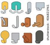 vector set of wall hook | Shutterstock .eps vector #406821961