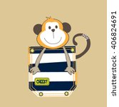 cute monkey in the pocket  t... | Shutterstock .eps vector #406824691