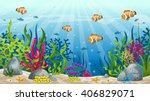illustration of underwater... | Shutterstock .eps vector #406829071