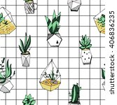 terrarium seamless pattern.... | Shutterstock .eps vector #406836235